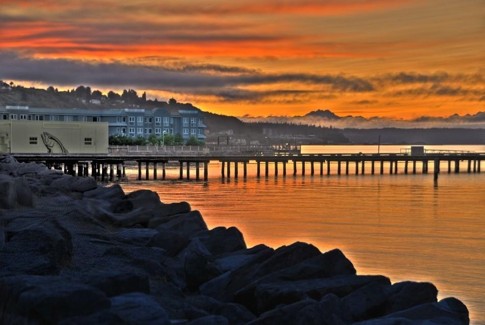 ruston way, sunset