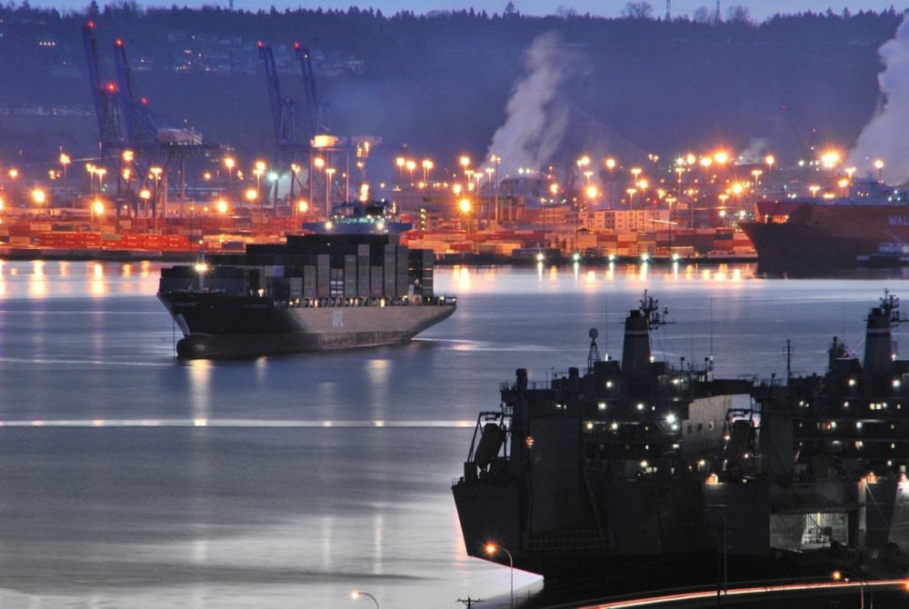 winter, sunrise, port of tacoma