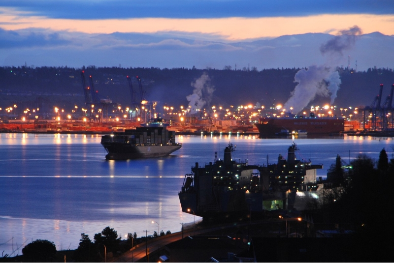 sunrise, winter, port of tacoma