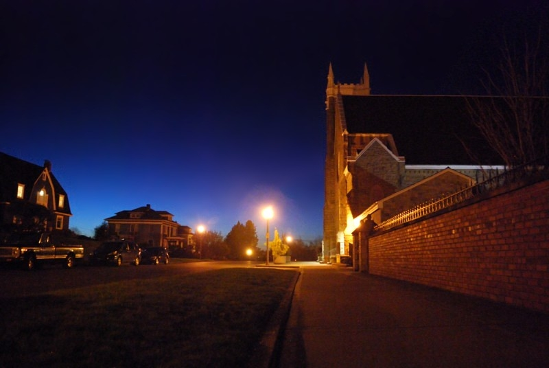 north slope, church, clear night