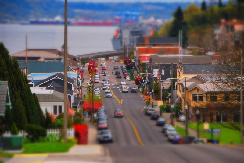 tacoma, old town, tilt-shift, miniature