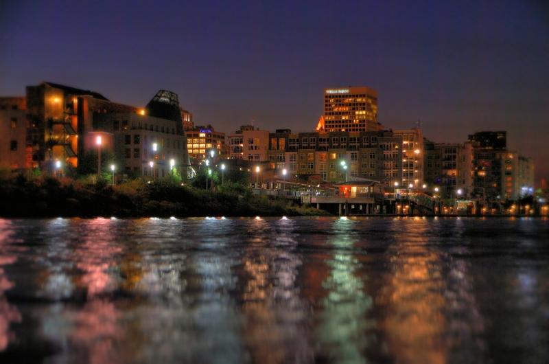 tacoma, dock street, foss, kayak, night