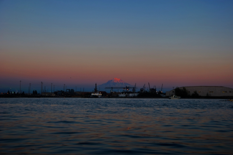 simpson, port of tacoma, mount rainier, commencement bay, sunset, kayak