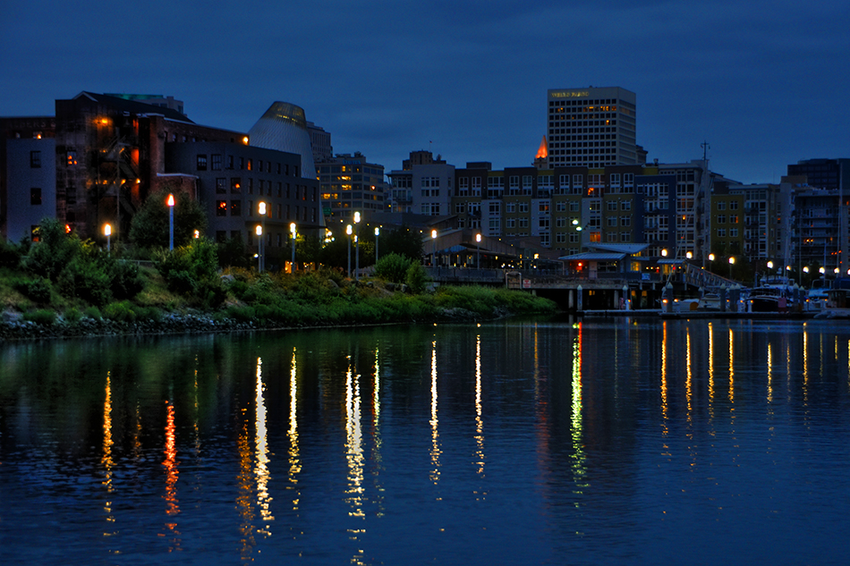 dock street, tacoma, night, skyline, museum of glass