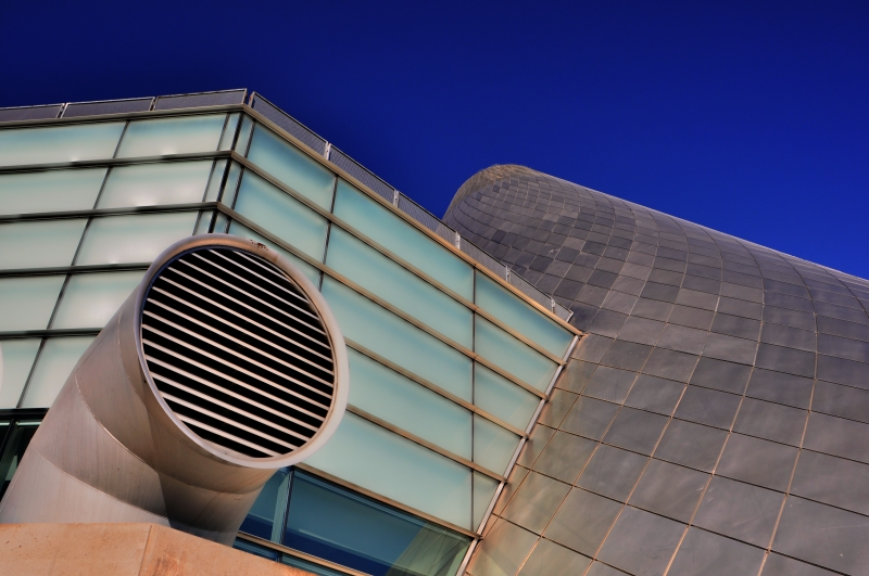 tacoma, museum of glass, vents, cone, blue sky