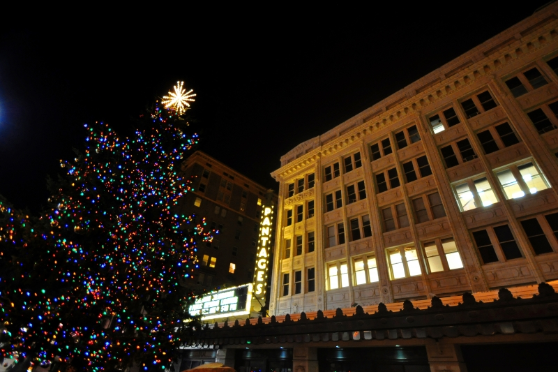 pantages, tacoma, theater, downtown, holiday, tree, lights