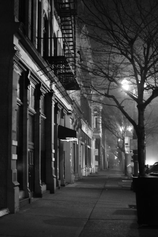 pacific ave, downtown, foggy, night, sidewalk