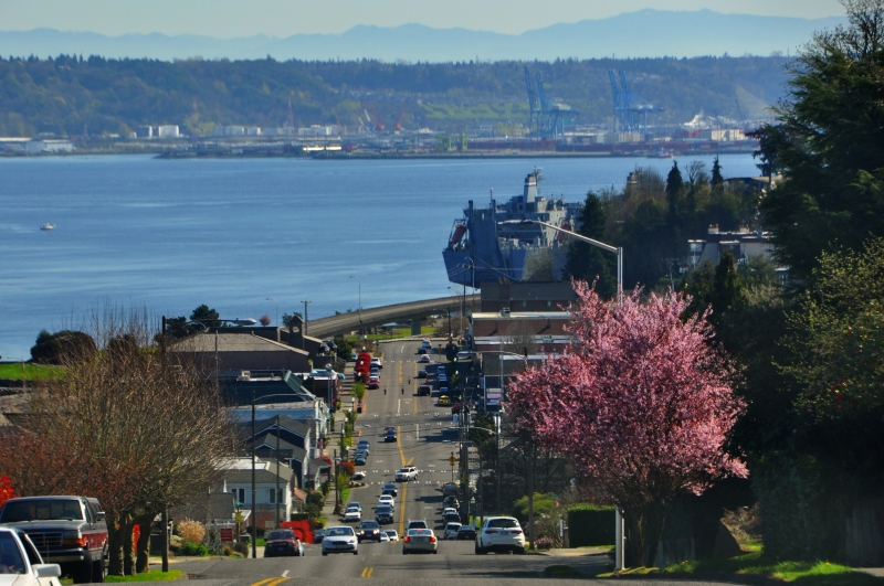 old town, north 30th, tacoma, hill, commencement bay, puget sound, port, ships