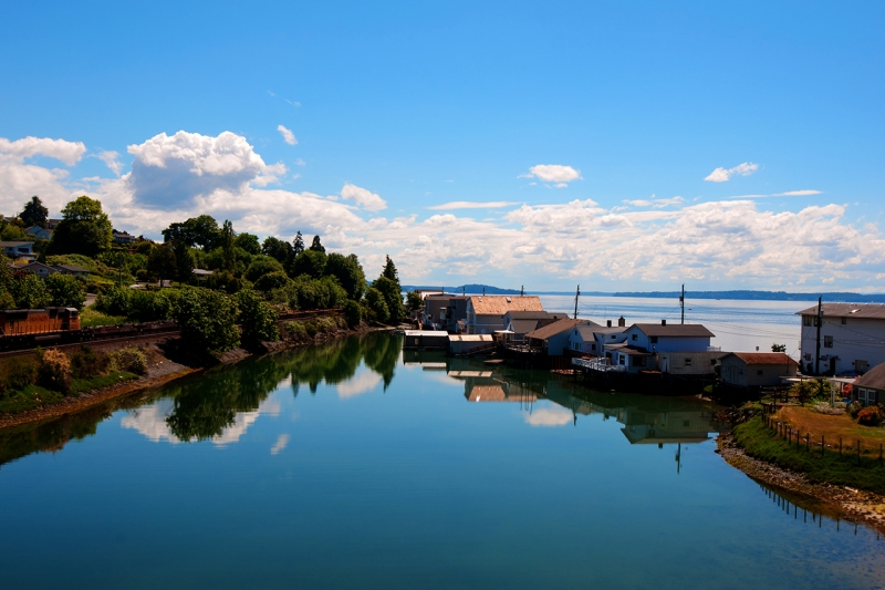 day island, bridge, water, view, puget sound, university place, south