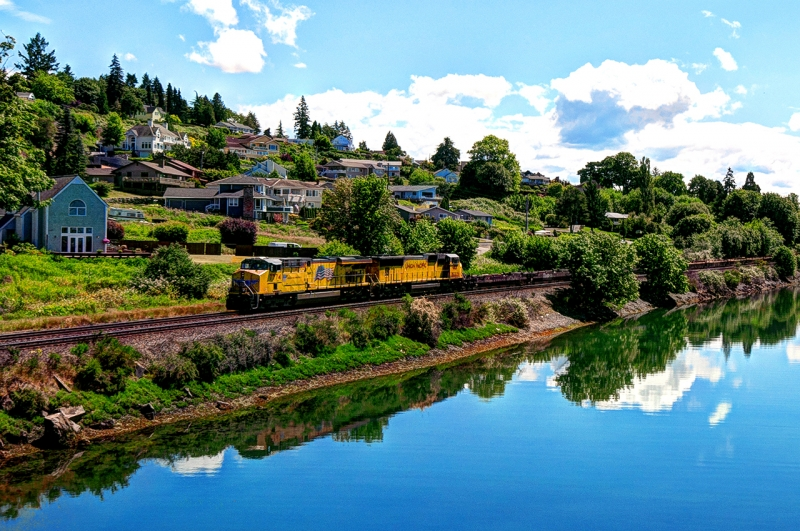 day island, bridge, water, view, university place, union pacific, train, engine