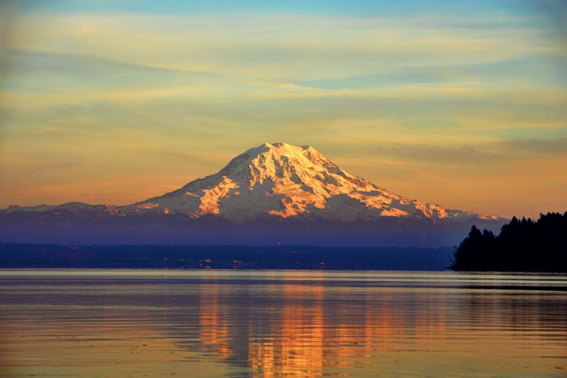 mt rainier, sunset, south sound, puget sound
