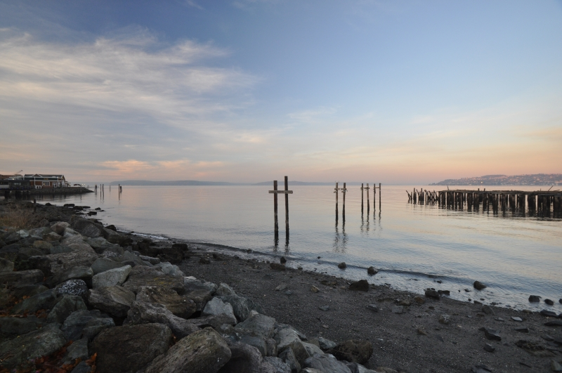 ruston way, waterfront, beach, ram, pilings, yaktown
