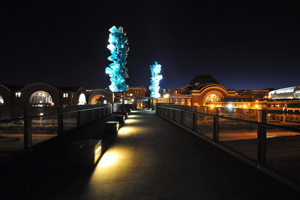 museum, glass, bridge, night, lights