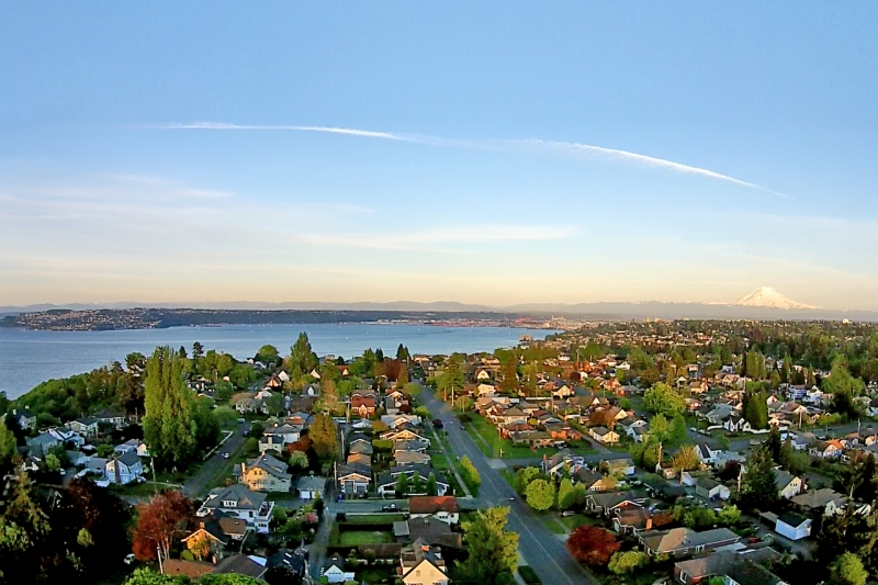 north end, aerial, view, neighborhood, mount rainier