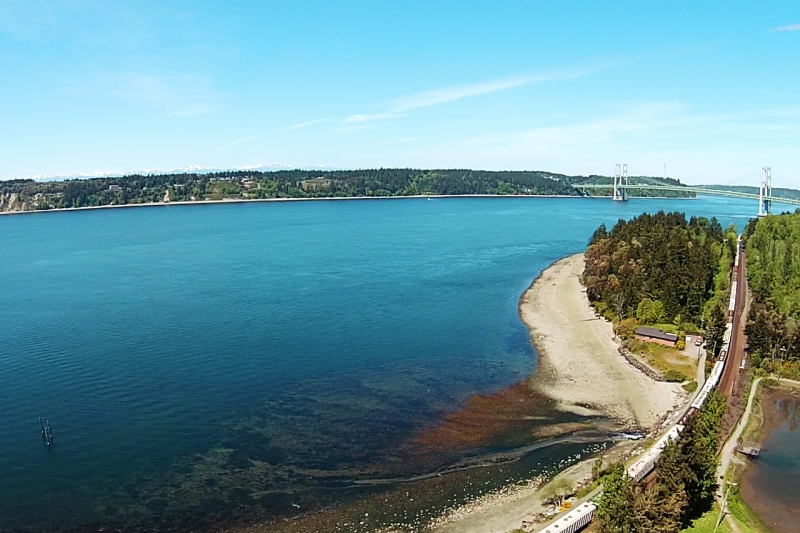titlow, beach, aerial, narrows, bridge, puget sound