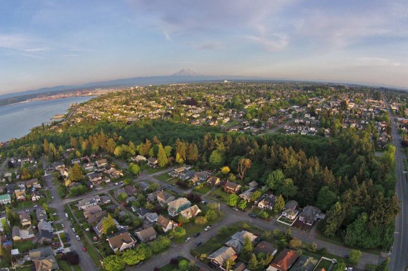 aerial, puget park, ravine, proctor, tacoma