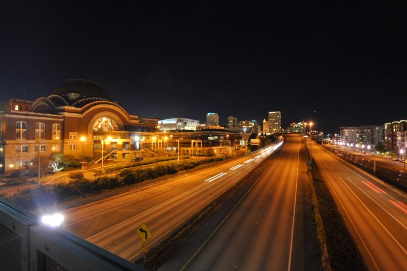 downtown, tacoma, night, union station