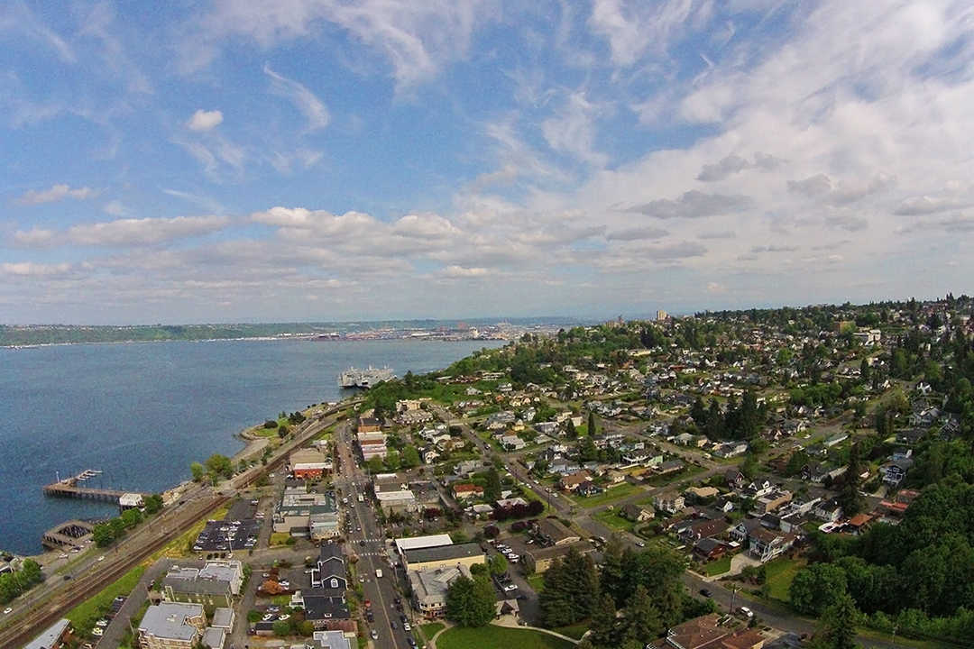 aerial, old town, tacoma, ruston way, waterfront