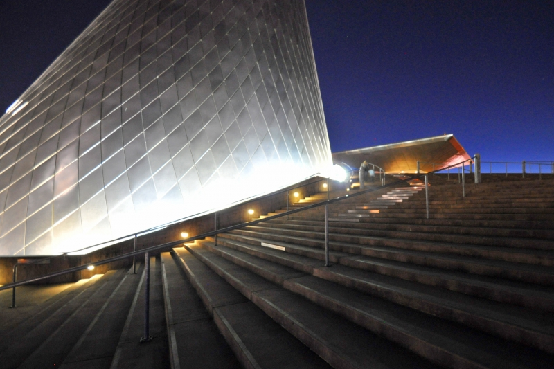 museum, glass, cone, night, tacoma