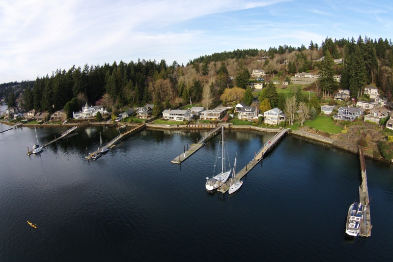 gig harbor, aerial, kayaker, docks