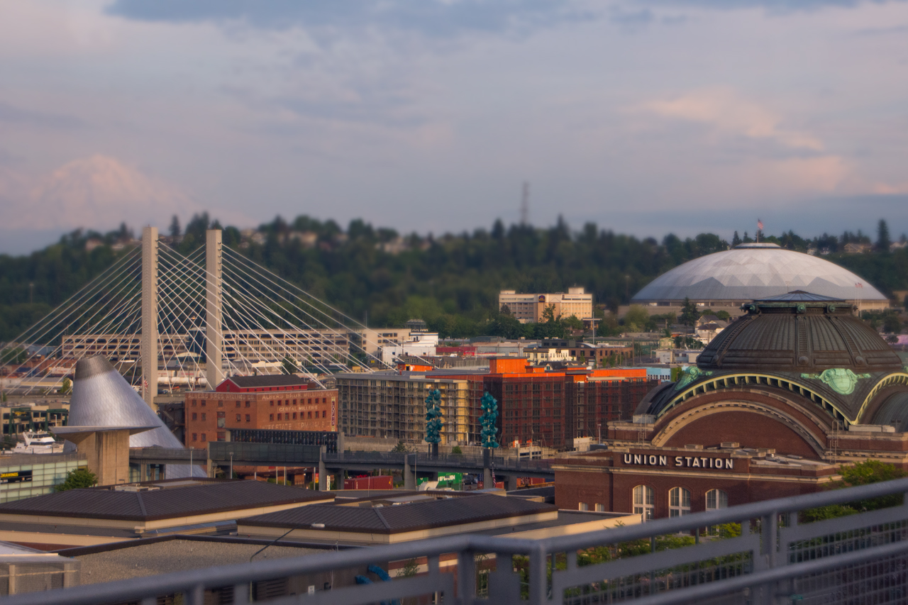union station, downtown, tacoma dome, bridge, museum, glass