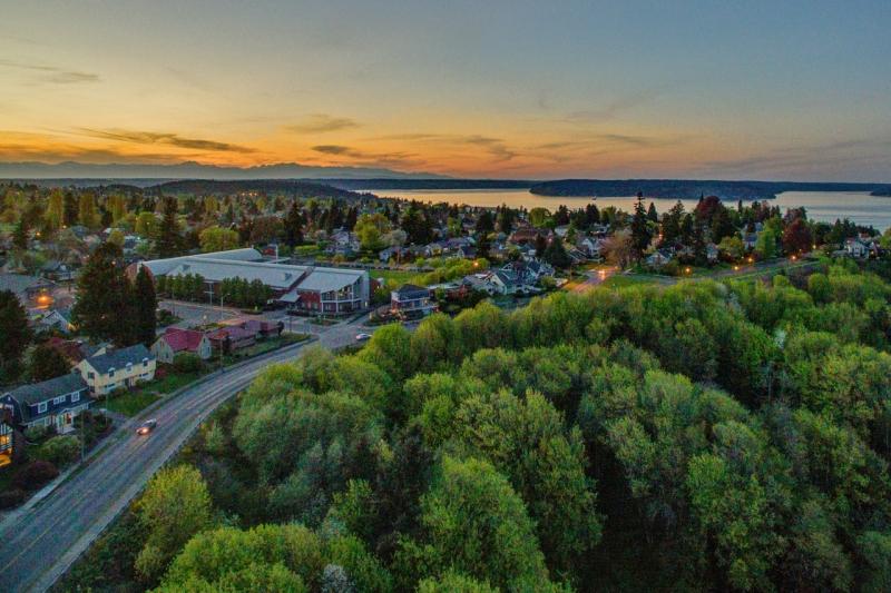 aerial, sunset, sherman, roundabout, tacoma