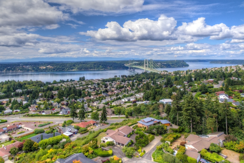 university place, narrows bridge, aerial, puget sound, tacoma