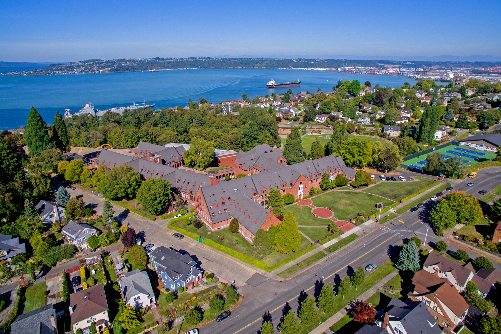 annie wright, aerial, commencement bay, port of tacoma