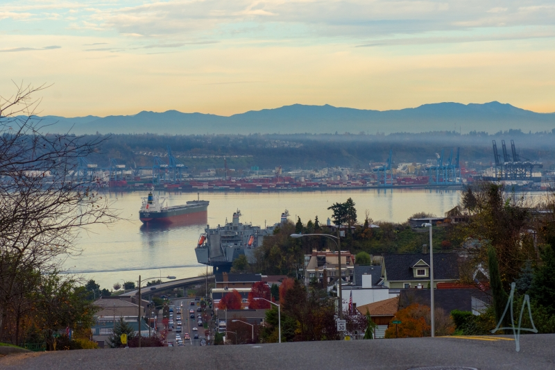 30th, commencement bay, autumn, ships, port, tacoma