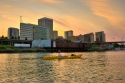 downtown, tacoma, thea foss, waterway, sunset