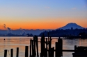 old town, mount rainier, sunrise, pilings, port of tacoma, commencement bay, sunrise