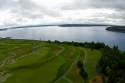 aerial, chambers bay, golf, course, puget sound, gig harbor, fox island
