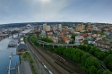 aerial, downtown, tacoma, drone
