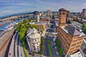 aerial, tacoma, pacific ave, clocktower, downtown