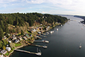 gig harbor, aerial, docks, mount rainier, puget sound