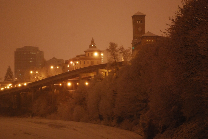 snow, tacoma, night